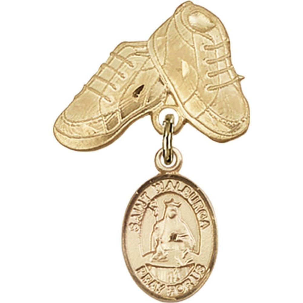 ゴールドFilled Babyバッジwith St。Walburgaチャームとベビーブーツピン1 x 5 / 8インチ   B00PQ7SBIA