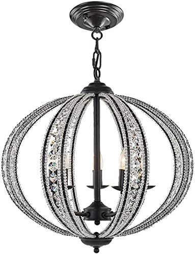 DINGGU 5 Lights Antique Black Iron Chandelier for Living Room Bedroom Dinner Room W21.5 XH20.5