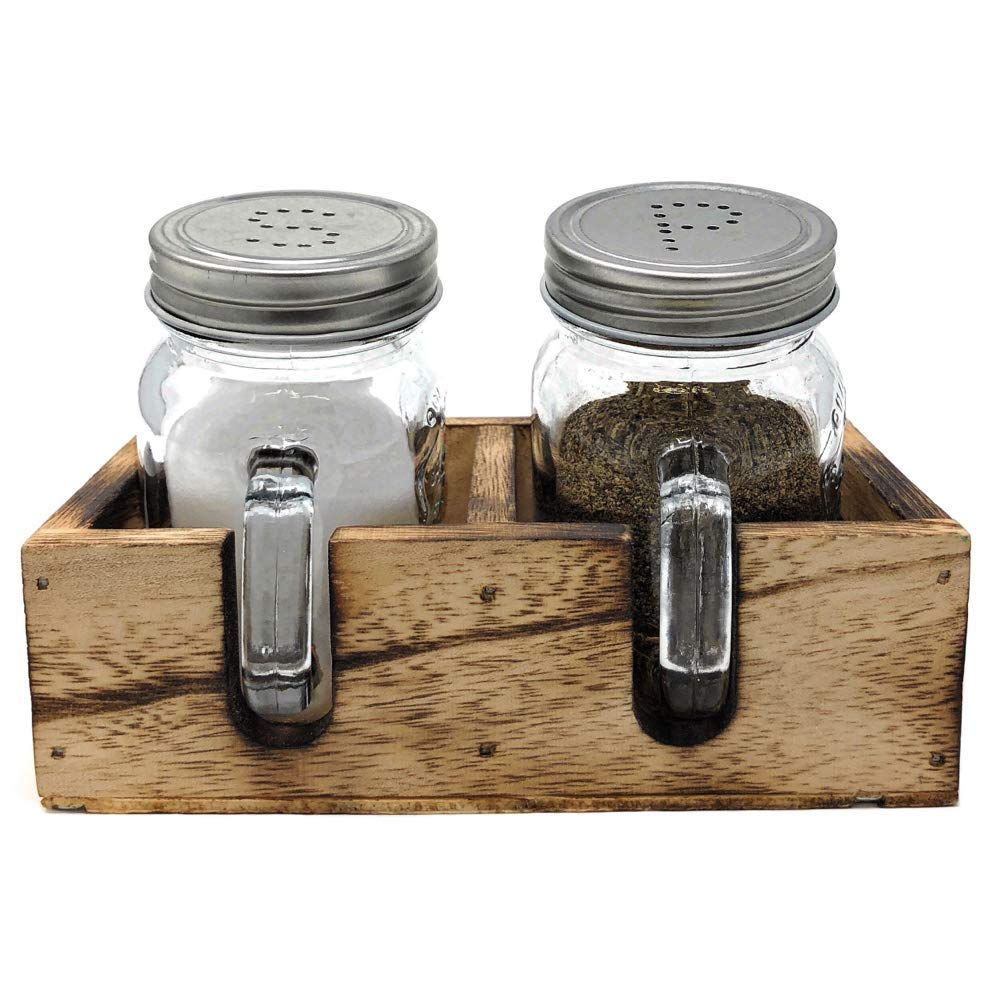 Mason Jar Salt & Pepper Shakers Set with Wood Tray for Rustic Farmhouse Table Decor, Vintage Home Decoration, Restaurants and Gift by CB Accessories