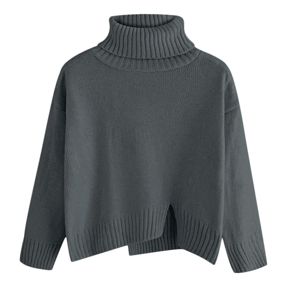 ZAFUL Women Turtleneck Sweater Long Sleeve Slit Oversized Knitted Pullover Top-gray