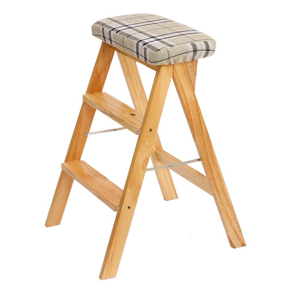 Farbe : Brown Holz-Trittleiter 3-Stufen-Multifunktionsleiter Klappbare K/üchenstufen Bibliotheksb/üro H/öhe: 63cm