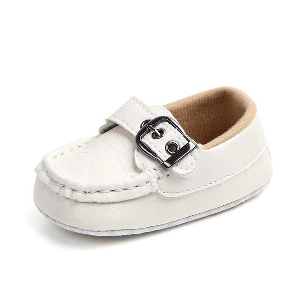 Lidiano Infant Baby PU Leather Soft Sole Moccasins Flat Loafers Sneakers 0-18 Months (0-6 Months, White Buckle)