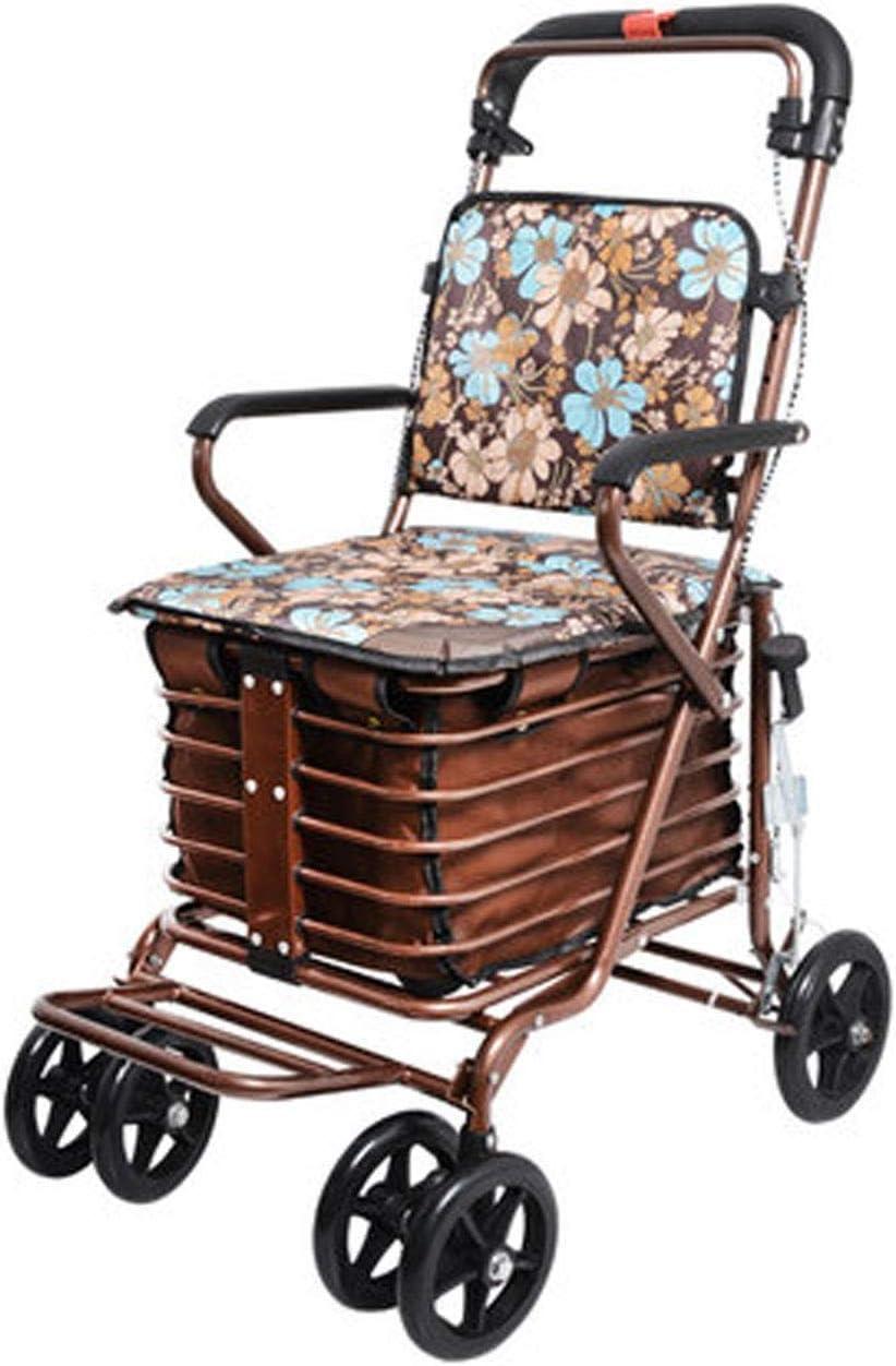 Mochila Plegable Trolley-GR Carro de la Compra Viejo, Carro de la Compra, Carro pequeño, Empujar, Se Puede sentar, Ancianos, Andador, Scooter de Compras en Las Cuatro Ruedas Carro De Compras Plegable