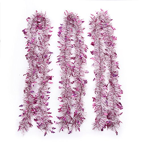 iPEGTOP 3Pcs x 6.6FT Hanging Tinsel Garland, Classic Christmas Wedding Party Holiday Tinsel Ornaments Christmas Tree Decorations, White & Hot pink
