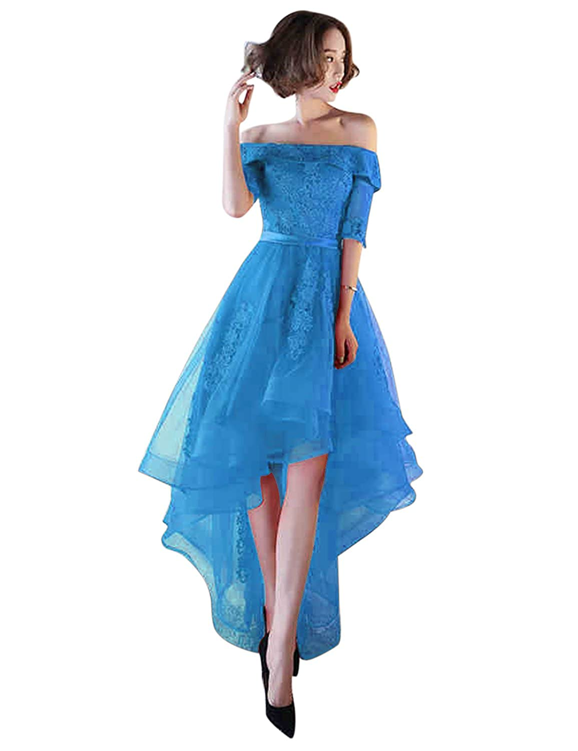 fbd3327ea51 vimans Womens Tulle High Low Evening Dresses 2019 Formal Prom Gown D707 at  Amazon Women s Clothing store