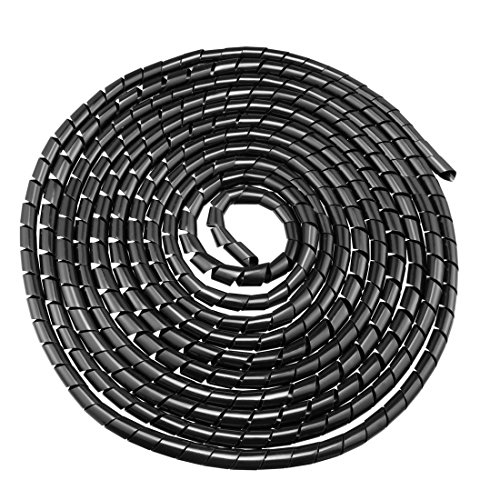 uxcell 12mm Flexible Spiral Tube Cable Wire Wrap Computer Manage Cord Black 5.5-8M 18' Polyethylene Sleeve