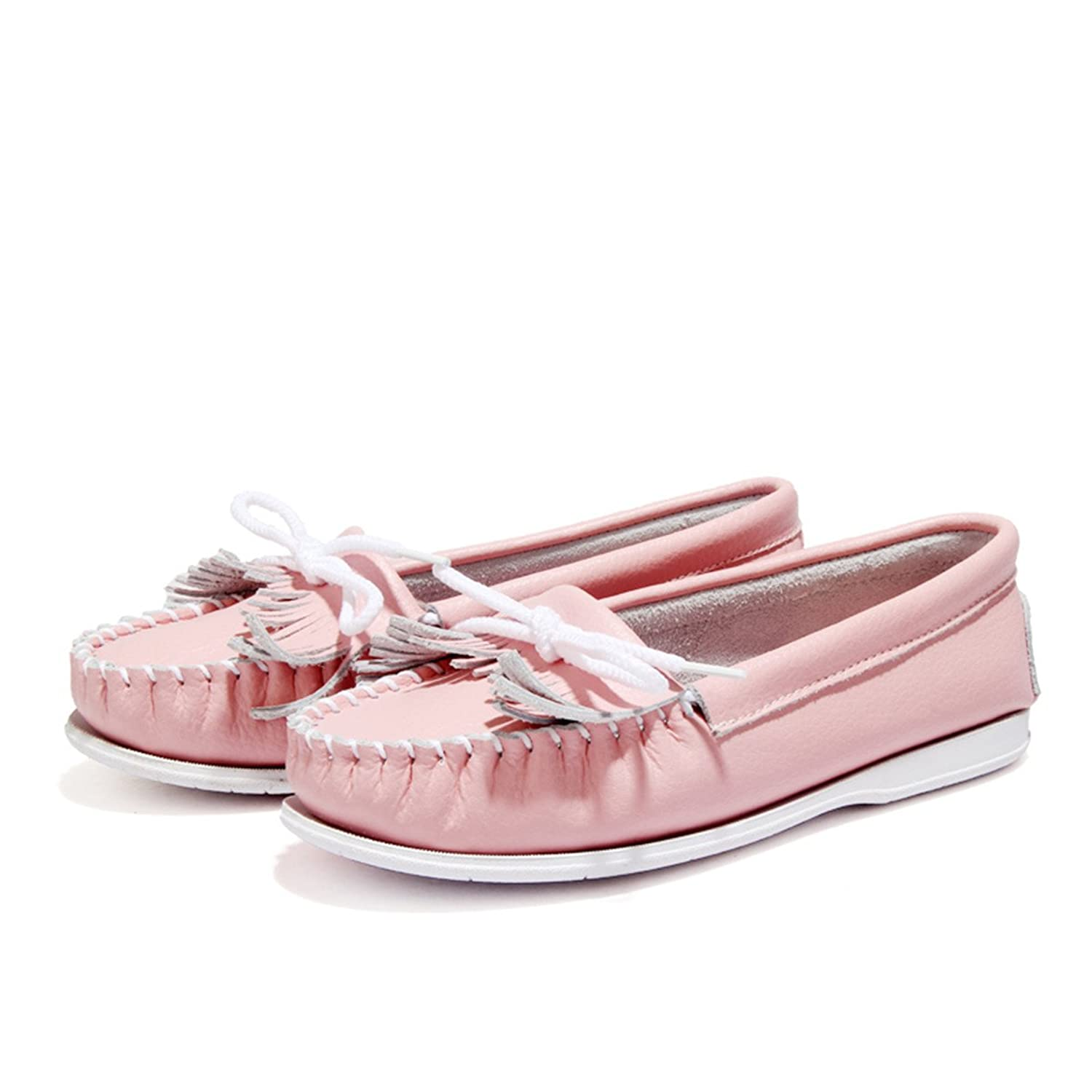 WHENOW Women's Comfortable Tassel Slip On Flat Shoes Driving Shoes