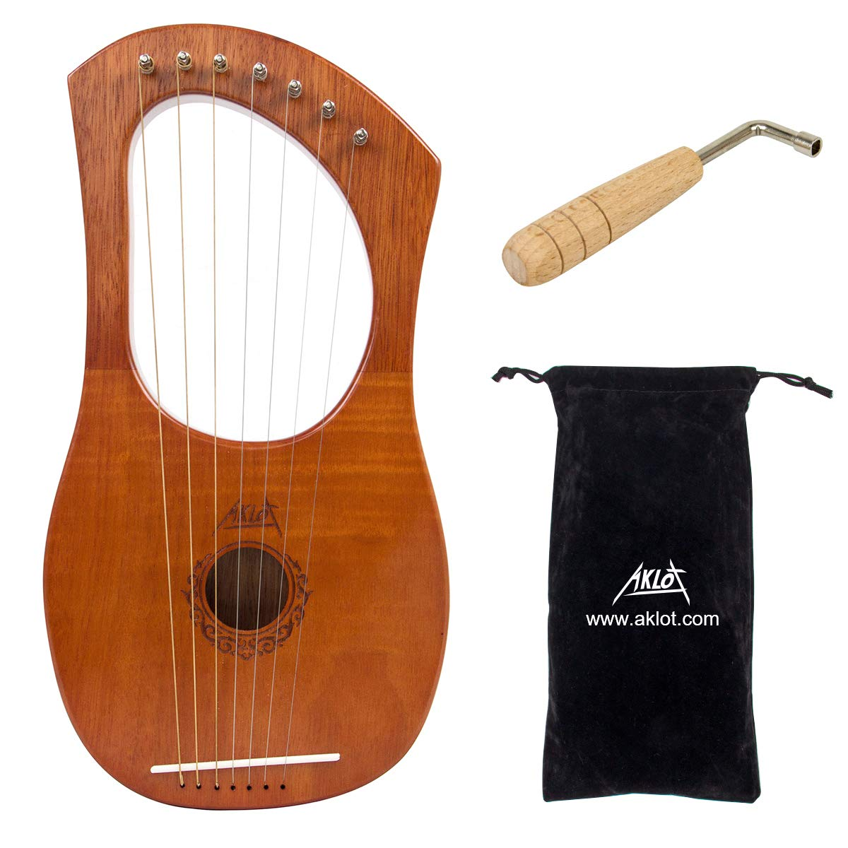 AKLOT Lyre Harp, 7 Metal String Bone Saddle Mahogany Lye Harp with Tuning Wrench and Black Gig Bag