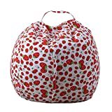 KIKIGOAL Stuffed Animal Bean Bag,Stuffed Animal Storage or Sack,Bean Bag Stuffed Animal Storage,Organization Stuffed Animal Canvas Organizer Box for Kids Toys Household Supplies 38'' (red)