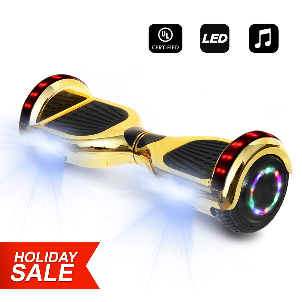 6.5'' inch Wheels Electric Smart Self Balancing Scooter Hoverboard with Speaker LED Light - UL2272 Certified (Chrome Gold)