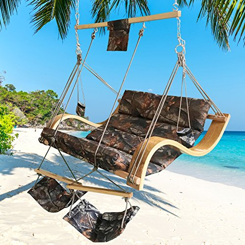 Lazy Daze Hammocks Deluxe Oversized Double Hanging Rope Chair Cotton Padded Swing Chair Wood Arc Hammock Seat with Cup Holder,Footrest&Hardware, Capacity 450 lbs (Camouflage) ()