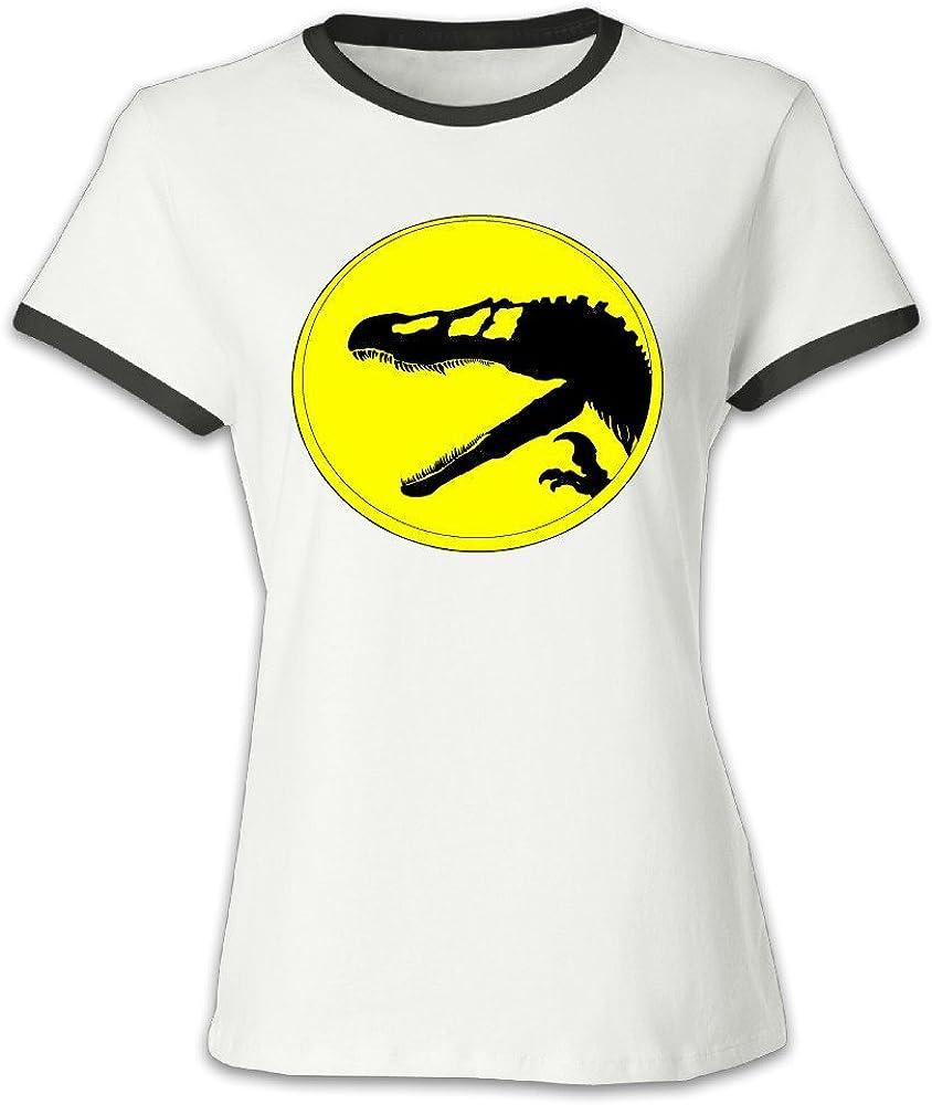 NUBIA Dinosaur Alternative Logo Contrast Color Geek Tee For Womens Black