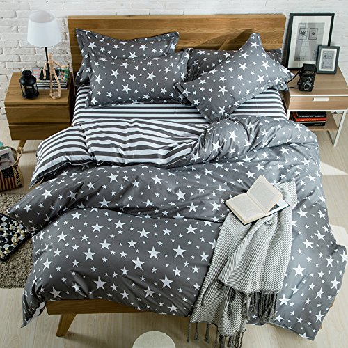 Hxiang 3-pieces Bedding Duvet Cover Set TMicrofiber, White And Grey Stars Stripes Prints Floral Patterns Design,Without Comforter 1 Duvet Cover+2 Pillowcases(Twin) (Gray And White Floral Bedding)