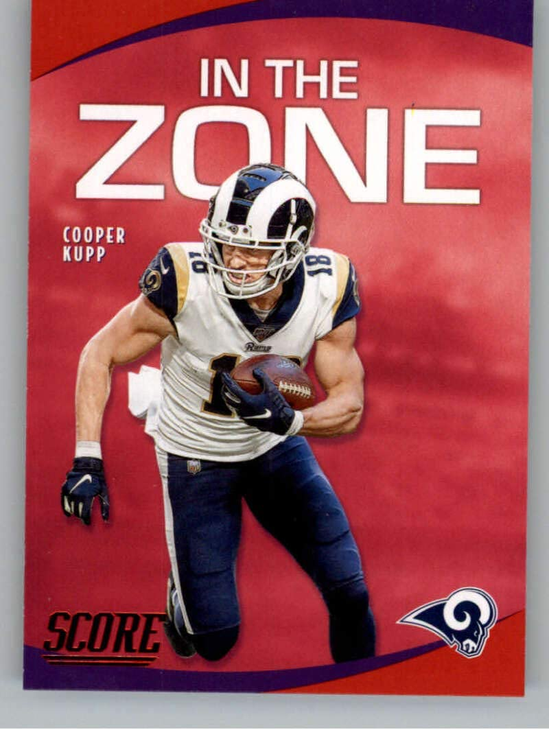 Amazon Com 2020 Score In The Zone Red Football 15 Cooper Kupp Los Angeles Rams Official Retail Only Red Nfl Parallel Trading Card From Panini America Collectibles Fine Art