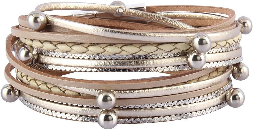 Wife Sister Jenia Feather Leather Cuff Bracelet Magnetic Multi Strand Bracelet Wrap Bracelet Bohemian Jewelry Gifts for Women