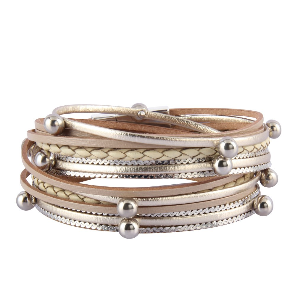 Jenia Women Leather Wrap Bracelet Silver Beads Multilayer Bracelets Cuff Bangles Casual Handmade Jewelry Bohemian Gifts for Girls, Kids, Lady, Mother WINWIN LPB286-beige