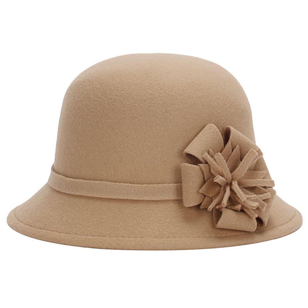 MatchLife Elegant Women's Vintage Bowknot Winter Hat Warm Wedding Bowler Hat style 3 khaki