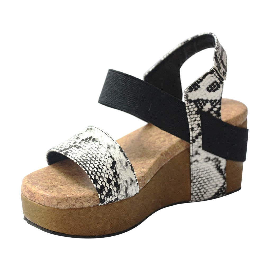 Womens Snake Grain Open Toe Strappy Wedge Leather Platform Shoes Roman Sandals