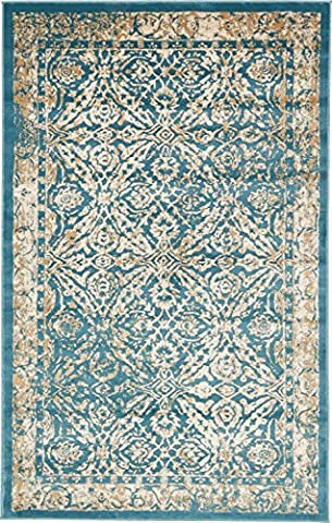 A2Z Rug Teal 5' x 8' FT St. Martin Collection Area rug - Vintage Inspired Overdyed Perfect for Living Dinning Room and Bedroom Rugs, Interior Modern Floor Carpet Design