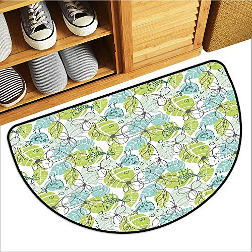 Front Door Mat Carpet, Leaves Indoor Out-Imdoor Rugs for Kids Room, Doodle Birds and Flowers with Foliage Hearts Ornamental Print ( Pale Green Seafoam Charcoal Grey, H16