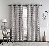Cheap Set of Two Panels 76″Wx84″L Brown Justin Ikat Printed Grommet Room Darkening Window Top Curtain Panels made of 100% Polyester.