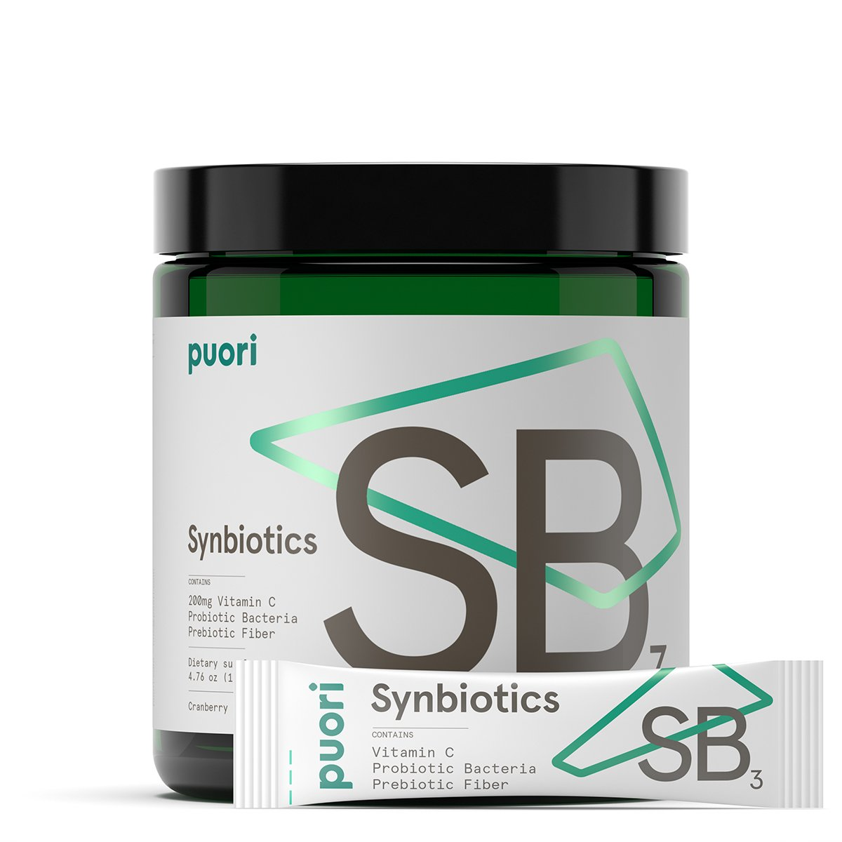 Puori - SB3 Probiotics & Prebiotics, Fiber 4g, Vitamin C 200mg, Bifidobacterium 3.5 Billion CFU, Lactobacillus Fermentum 9.5 Billion CFU, 30 Servings