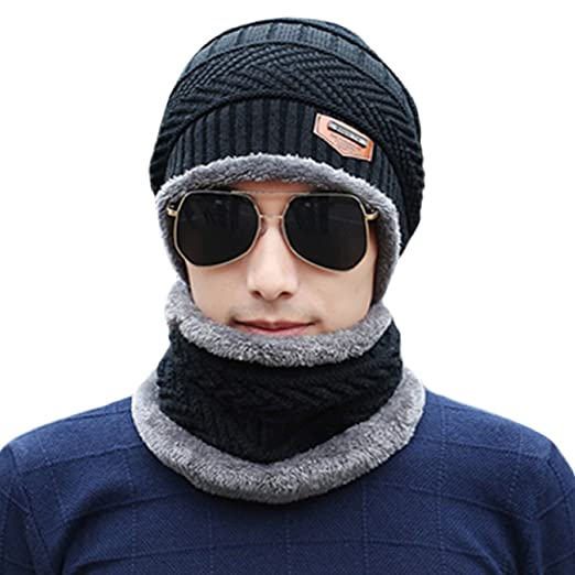 8bcd8659132 Image Unavailable. Image not available for. Color  Unisex Winter Slouchy Beanie  Hat Scarf Set Knitted Neck Warmers Gaiters Skull Caps