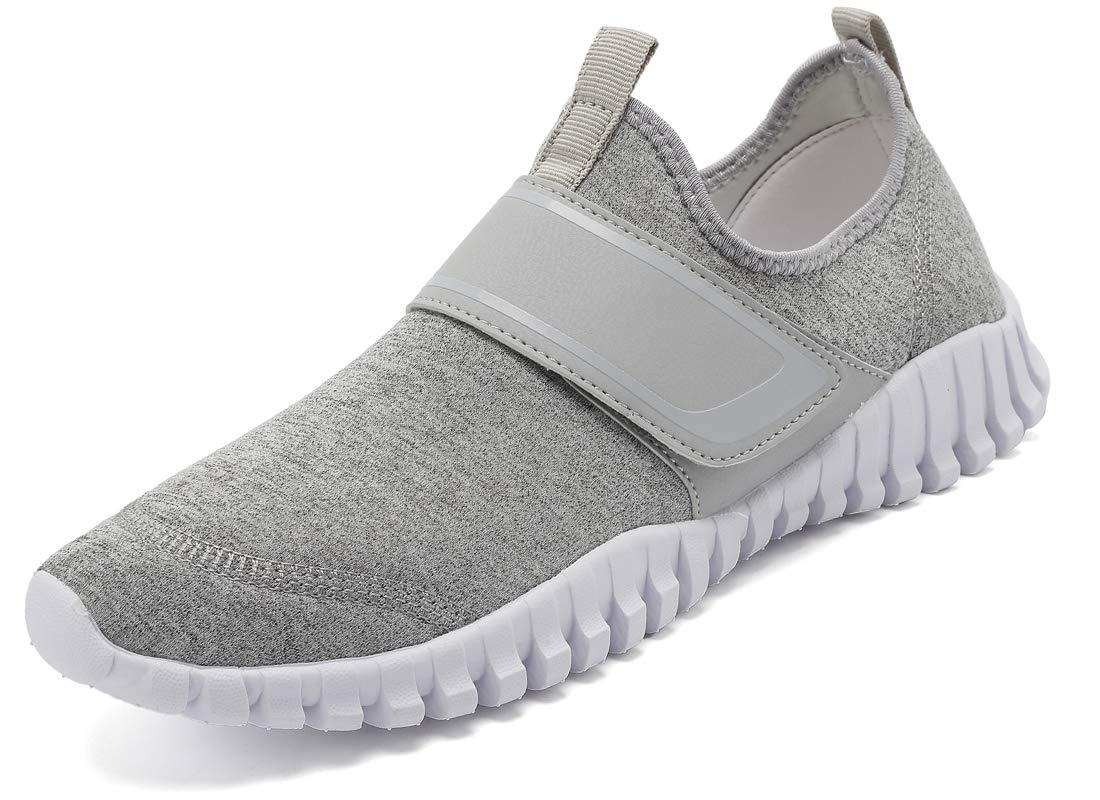 KISFLY Outdoor Water Shoes for Women - Lace Up Aqua Socks Quick Dry Walking Shoes Grey Men Size 9.5