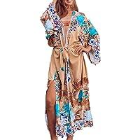 YouKD Women's Summer Bohemian Long Kaftan Ethnic Pattern Maxi Dress Beach Bikini Cover Ups Sunblock