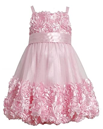 03894b189 Amazon.com: Bonnie Jean Girls 7-16 Pink Floral Bonaz Mesh Bubble ...