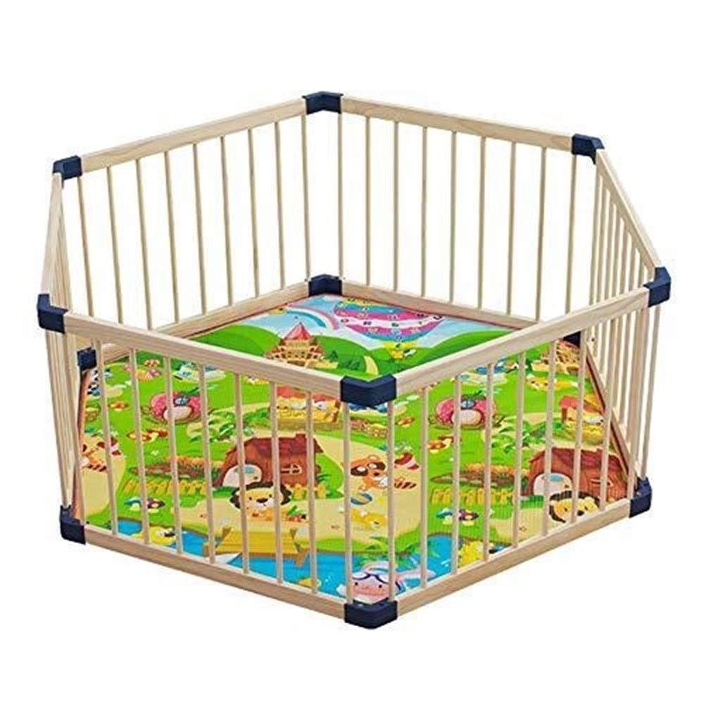 Djyyh 幼児ベビーサークル遊び場木製子供の遊び場屋内、赤ちゃんフェンス遊び場六角ベッドレール子供の保護   B07TWP6WPS