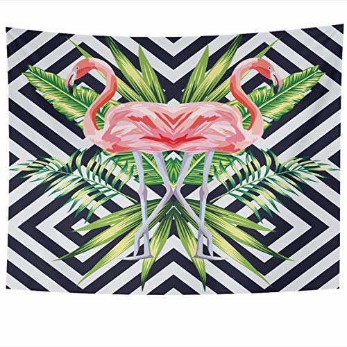 Ahawoso Tapestry 80x60 Inches Bird Pink Flamingo Bright Tropical Banana Leaves Mirror Design Wall Hanging Home Decor Tapestries for Living Room Bedroom Dorm