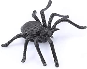 FUNLAVIE 10PCS Plastic Spiders Realistic Bugs Scary Creepy Rubber Prank Gag Gifts for Halloween Decorations