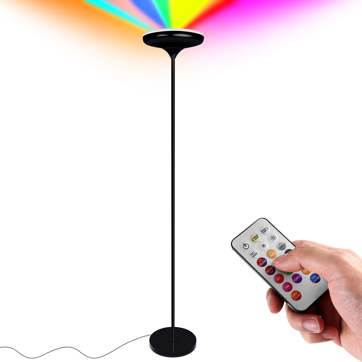 FaithSail Color Changing LED Torchiere Floor Lamp, Remote Control 24W (200W Equivalent), Dimmable and Adjustable, Reading Uplight Standing Floor Light for Bedrooms, Living Room and Office