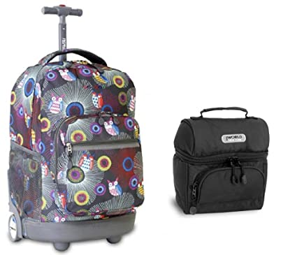 Amazon.com | J World Blazing Owl Sunrise Roller Backpack and Black ...
