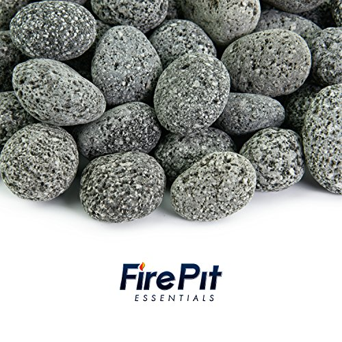 Black 1 Inch - 2 Inch Fire Rock | Fireproof and Heatproof Round Pebbles for Indoor or Outdoor Gas Fire Pits and Fireplaces - Natural, Hand-Picked Stones | 10 Pounds (Glass 2 Fire 1)