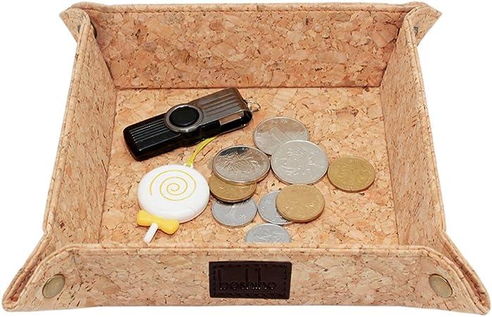 Boshiho - Caja de almacenamiento de corcho para guardar llaves, monedas, EDC Valet, bandeja para cambio de mesita de noche, regalo ecológico: Amazon.es: Hogar