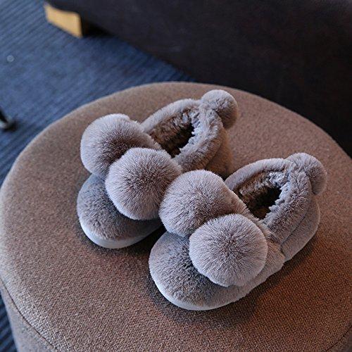 Cotone fankou pantofole femmina inverno soggiorno di una famiglia di tre interne anti-slittamento fondo morbido radice del pacchetto delizioso caldo paio di scarpe di cotone ,43-44, grigio scuro
