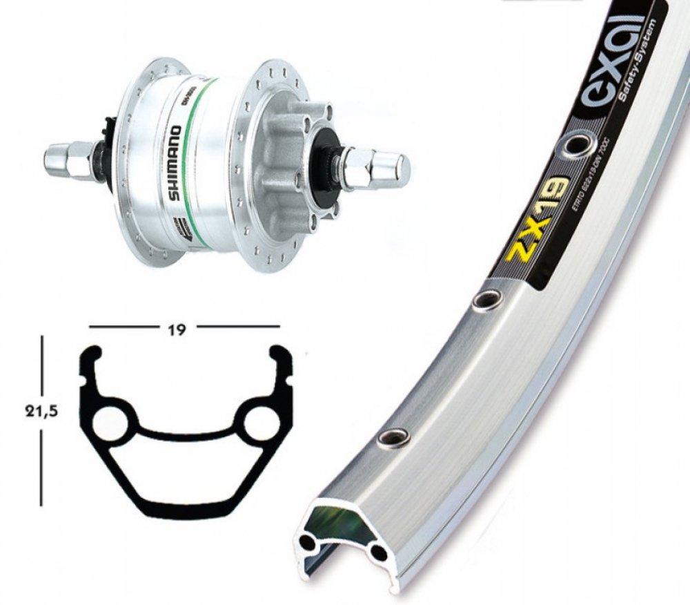 Bike-Parts 26´´ Vorderrad Exal ZX 19 + Nabendynamo Shimano DH-3D32 6-Loch