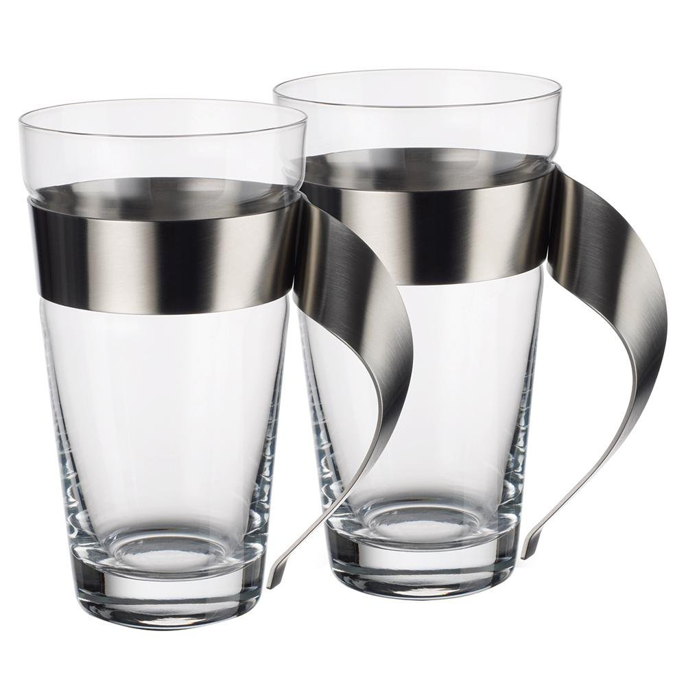 Villeroy & Boch New Wave 16 oz. Chic Modern Design Clear Glass and Stainless Steel Macchiato Mug (Set of 2)