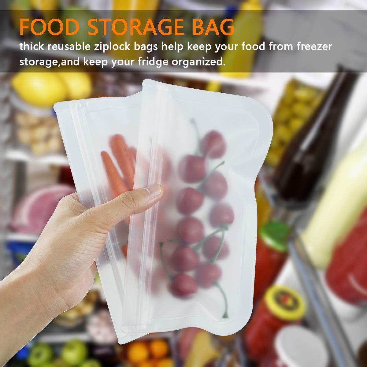 confezione da 12 sacchetti ermetici per freezer riutilizzabili, 7 sacchetti per sandwich e 5 sacchetti per snack Sacchetti riutilizzabili a tenuta stagna senza BPA