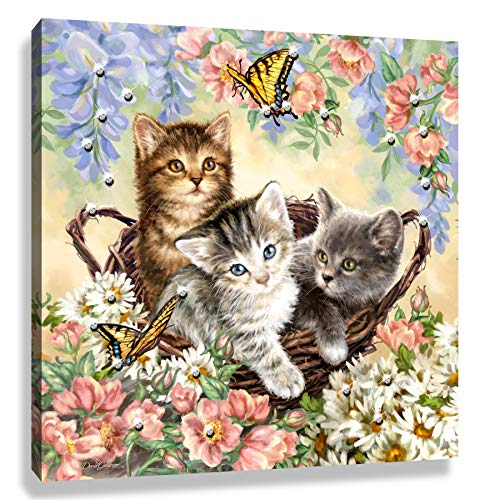 Glow Decor Kittens and Butterflies Pizazz Print with Swarovski Crystals, Multi