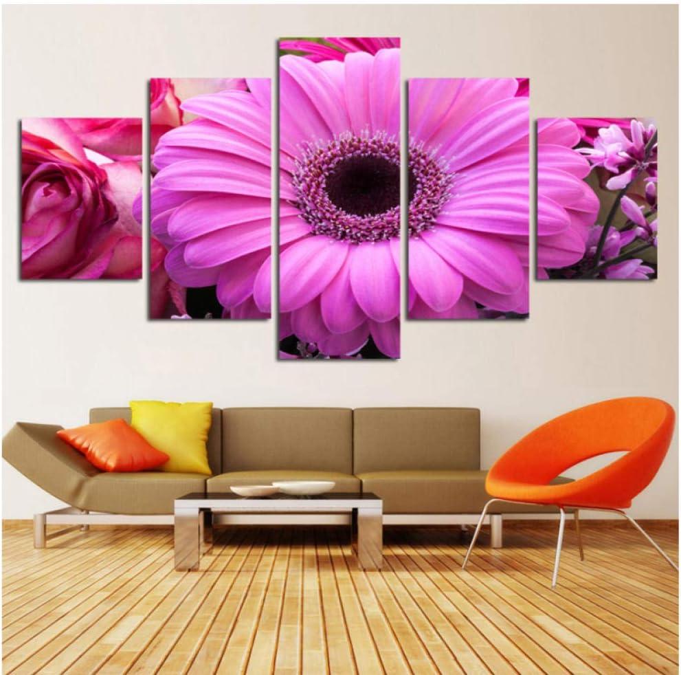 5 piezas wall art hd print lienzo impresiones decoracion flores cuadros modernos baratos tríptico modular cuadros para vivir-40x60/80/100cm,With frame
