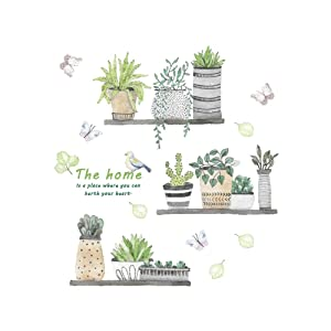 AWAKINK Cartoon Cactus Pot Green Plants Leaves Butterflies Pastoral Style Wall Stickers Wall Decal Vinyl Removable Art Wall Decals for Bedroom Living Room Nursery Room Children's Bedroom