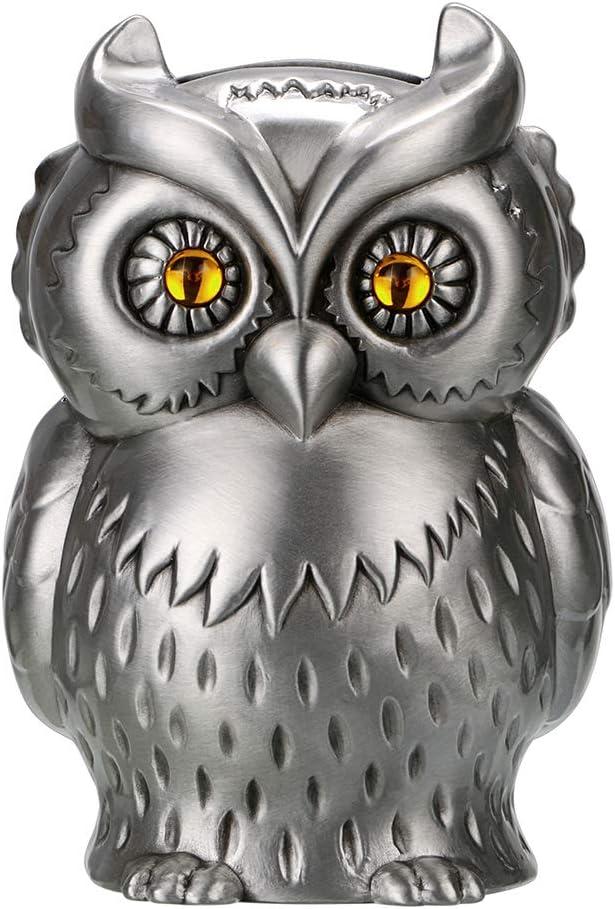 Hipiwe Vintage Metal Owl Piggy Bank, Kids Money Saving Box Coin Can Holder Gift for Boys and Girls, Creative Home Furnishing Owl Ornament Art Decor