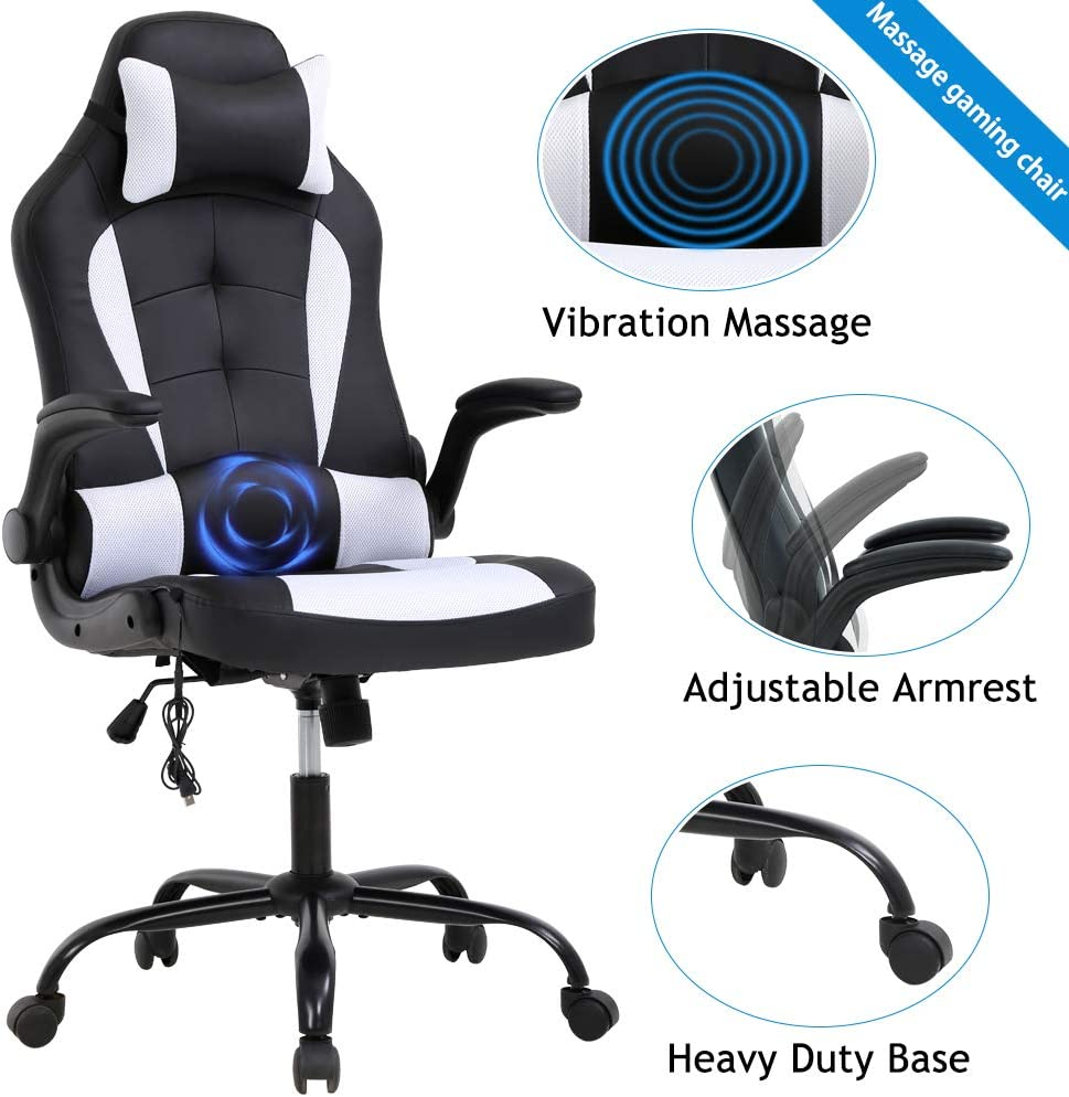 Gaming Chair Massage Racing Style Office Chair PC Gaming Computer Chair Ergonomic Backrest and Seat Height Adjustment PU Leather Rolling Swivel Chair with Flip Up Armrest Headrest and Lumbar Support