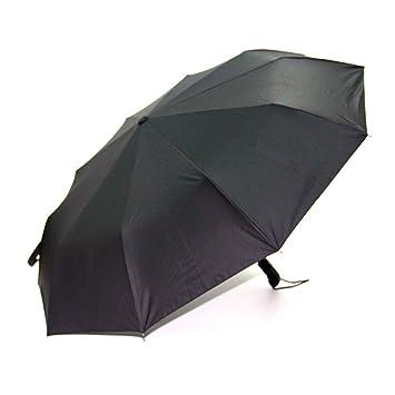 Lotosblume paraguas a prueba de viento paraguas de viaje compacto automático abrir y cerrar, Negro