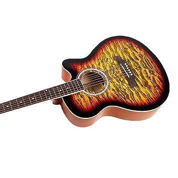 North King Balada acústica Guitarra Guitarra Madera de Cal de Agua Instrumentos de música Adulto Rizo patrón de Fuego 40 Pulgadas: Amazon.es: Jardín