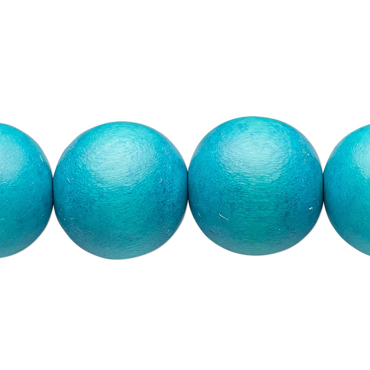 Bead wood (dyed / waxed) aqua blue 15-16mm round with 2-2.5mm hole