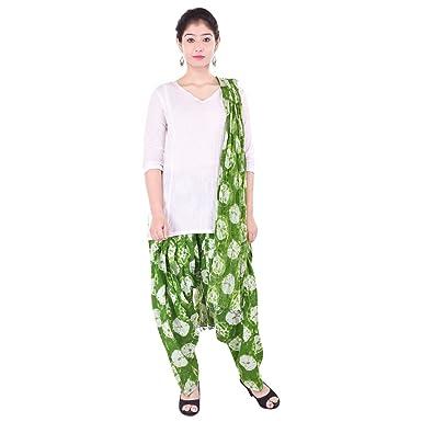 59d61e4d7ab Purvahi Women's Cotton Printed Patiala and Dupatta Set (KC3095, Green, Free  Size)